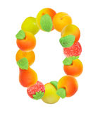 Alphabet from fruit, the number 0 Stock Image
