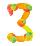 Alphabet from fruit, the number 3 Stock Photography