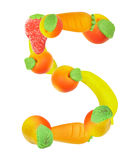 Alphabet from fruit, the number 5 Stock Photo