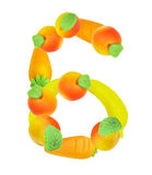 Alphabet from fruit, the number 6 Stock Photo