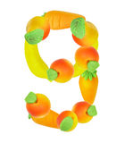 Alphabet from fruit, the number 9 Royalty Free Stock Photos