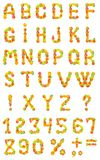 Alphabet from fruit on a white background Royalty Free Stock Images