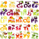 Alphabet with  fruits. Alphabet. English capital and uppercase letter with  fruits Royalty Free Stock Image