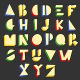 Alphabet géométrique de bande dessinée Photographie stock