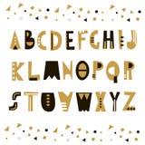 Alphabet géométrique peu commun à la mode Alphabet abstrait de la géométrie Alphabet de hippie Illustration de vecteur Photos libres de droits