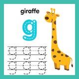 Alphabet G-Übung mit Karikaturvokabular vektor abbildung