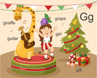 Alphabet.G. Letter giraffe guitar girl grape gift Royalty Free Stock Image