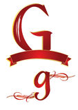 Alphabet g. Ornamental alphabets of capital and small g Royalty Free Stock Photo