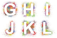Alphabet g-l Stock Image