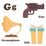 Alphabet G letter.Gift,Gramophone,Gun. Illustration of alphabet G letter.Gift,Gramophone,Gun vector illustration
