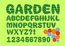 Alphabet with garden or nature design in green, small spring leaves texture, included flowers. Vector EPS 10 stock illustration