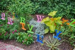 The alphabet garden. At storybook gardens Royalty Free Stock Image