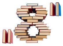Alphabet gemacht aus Büchern, Tabellen 8 und Anführungszeichen heraus Stockbild