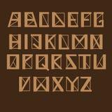 Alphabet geomertic angulaire, ensemble de vecteur Lettres avec les lignes épaisses et minces et les coins pointus, couleur brune illustration de vecteur