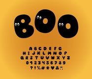 Alphabet ghost design, cartoon style. Letters, numbers and punctuation marks. Font vector typography. EPS 10. Alphabet ghost design, cartoon style. Letters stock illustration