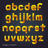 Alphabet gold color polygon style. Royalty Free Stock Images