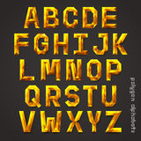 Alphabet gold color polygon style. Stock Images