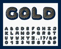 Alphabet gold design. Typeface clip art. English letters, numbers and punctuation marks. Font typography. Hand drawn. EPS 1. Alphabet gold design. Typeface clip royalty free illustration