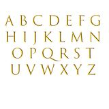 Alphabet and gold letters. On the white paper stock illustration