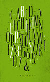 Alphabet gothic font green Stock Photos