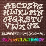 Alphabet graffity vector alphabetical font ABC by brush stroke with letters and numbers or grunge alphabetic typography Royalty Free Stock Photos