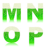 Alphabet green beer MNOP Royalty Free Stock Photos