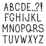 Alphabet. Grunge bumpy line hand drawing decorative font. Royalty Free Stock Photos