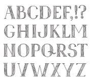 Alphabet. Grunge line pencil drawing decorative font. Hipsters ABC Stock Photos