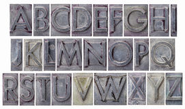 Alphabet in grunge metal type Royalty Free Stock Images