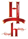 Alphabet h. Ornamental alphabets of capital and small h Royalty Free Stock Images