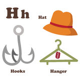 Alphabet H letter.Hanger,Hat,Hooks Royalty Free Stock Photo