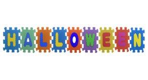 Alphabet Halloween puzzle pieces Stock Photos