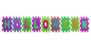 Alphabet Halloween puzzle pieces on white Stock Photo