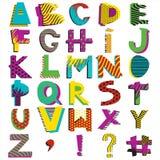 Alphabet. Hand drawn alphabet. Geometric funny font. Primitive simple stylized ABC design. Funny Doodle elements, childish ornament. Hand drawn vector Royalty Free Stock Image