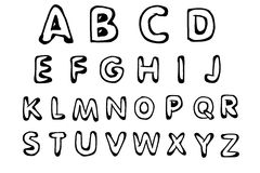 Alphabet. Hand drawn alphabet, isolated. Hand drawn font Stock Images