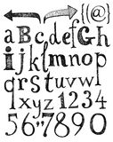 Alphabet. Hand drawn letters. Stock Images