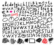 Alphabet. Hand drawn letters. Stock Photos