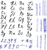 Alphabet. Hand drawn letters. Black letters and Royalty Free Stock Images