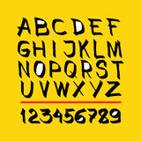 alphabet. hand drawn in  on yellow background Stock Photos