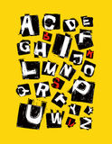 alphabet. hand drawn in  on yellow background Stock Photo