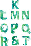 Alphabet , hand- painted blue-green and turquoise shades Stock Image