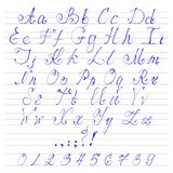 Alphabet handwriting fonts royalty free illustration