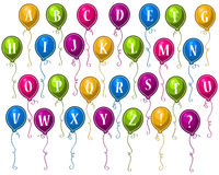 Alphabet Happy Party Balloons. Alphabet in colorful party balloons Royalty Free Stock Photo