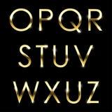 Alphabet haut de casse réglé d'O en métal de vecteur d'or à de Z Illustration Stock