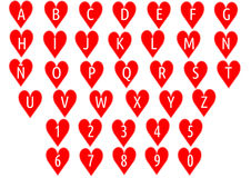 Alphabet on hearts. Illustration of alphabet with number on hearts vector illustration