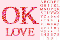Alphabet of hearts. Romantic heart set of letters and symbols Stock Photography