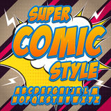 Alphabet in the hero style of comics, pop art. Letters and figures for decoration of kids' illustrations. Websites, posters, comics and banners Stock Images