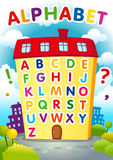 Alphabet house. Alphabet educational house. English ABC poster in a shape of the house. Welcome back to school, learning letters from A to Z vector banner. Game Royalty Free Stock Photo