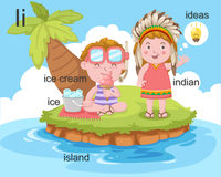 Alphabet.i. Letter ice ice cream island indian ideas Royalty Free Stock Photo