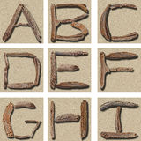 Alphabet A - I de bois de flottage photo stock